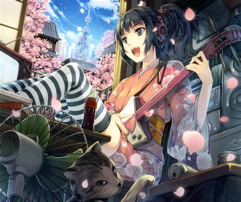 Clouds COTE Petals anime girl BANK Sakura Art FAN ...