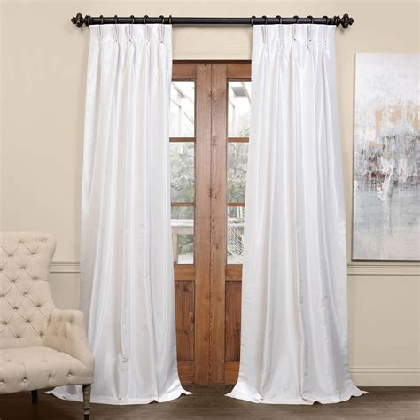 white blackout textured faux dupioni pleated curtain