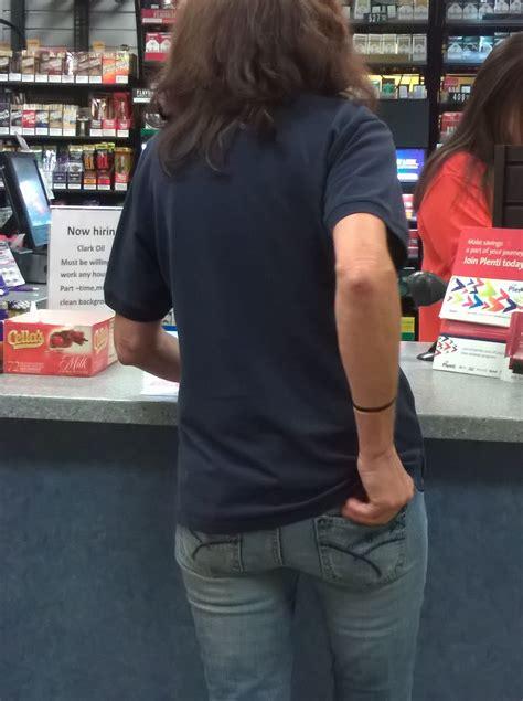 Little Skinny Brunette In Tight Jeans