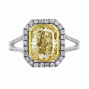 Cushion cut fancy yellow diamond engagement ring in 18k for Wedding rings yellow diamond