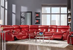 Padded Storage Benches by Corsica Red 4 Pc Power Reclining Sectional Living Room