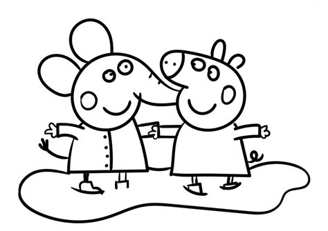 Peppa Pig and Emily Elephant high quality free coloring