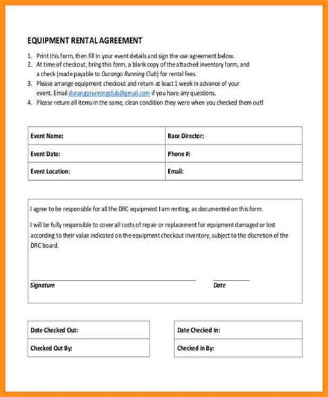 13 equipment rental agreement form parts of resume