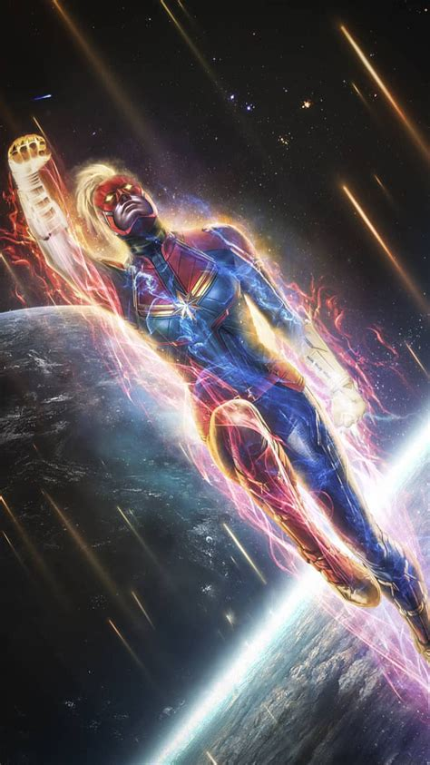 captain marvel space fight iphone wallpaper iphone