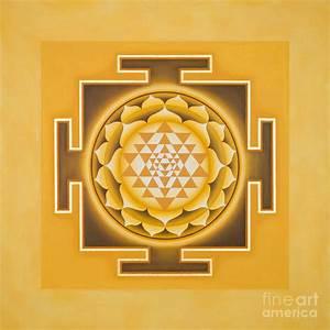 Golden Sri Yantra - The Original Painting by Piitaa