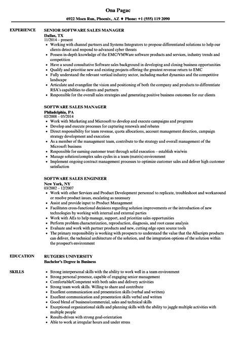Software Resume by Software Sales Resume Sles Velvet