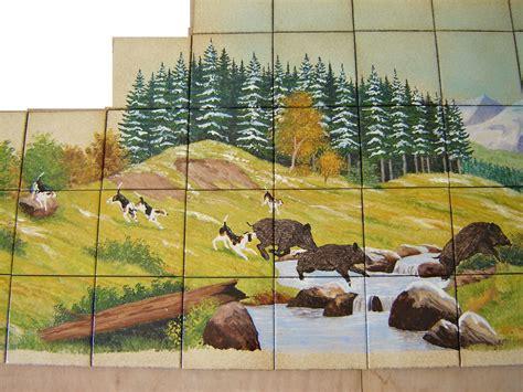 cuisine modernes paysage sur faïence décor moderne fresque sur carrelage