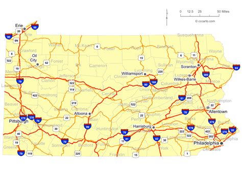pennsylvania map road pa highways roads cities interstate highway 70 interstates cccarto