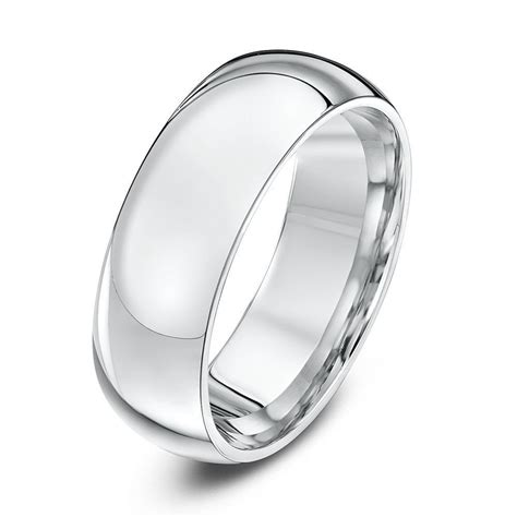 silver heavy court shape 7mm wedding ring