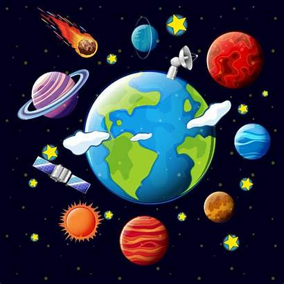 Planets Earth Vector Around System Satellites Solar