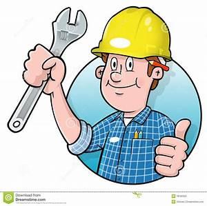 Cartoon Construction Worker Logo Stock Vector