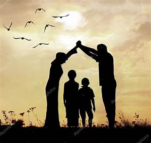 Silhouette of a Muslim family — Stock Photo © zurijeta ...