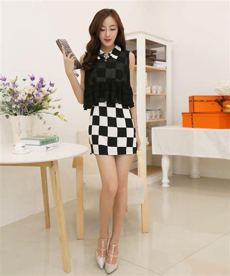 Casual Wear Vintage Korean Style Plaid Color Block Sleeveless Lapel Ruffles Dress