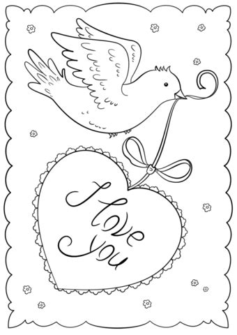 Coloring Cards by Quot I You Quot Card Coloring Page Free Printable Coloring