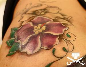 african violet tattoo on side | hautedraws