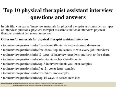 top  physical therapist assistant interview questions