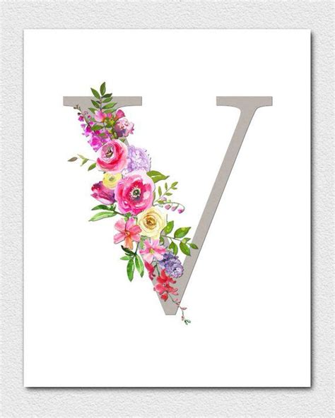 letter  monogram floral monogram nursery monogram printable monogram letters initial print