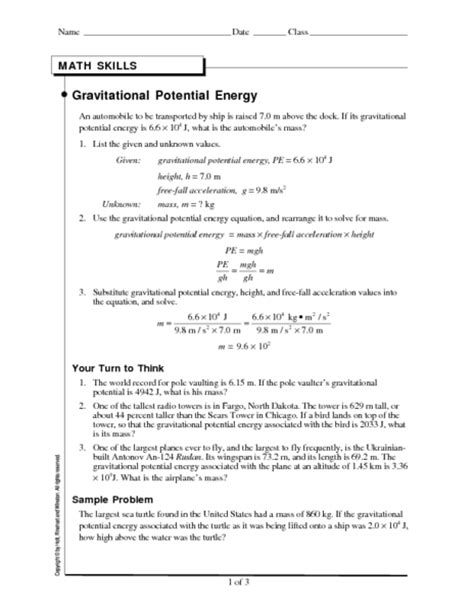 All Worksheets » Potential And Kinetic Energy Worksheets  Printable Worksheets Guide For