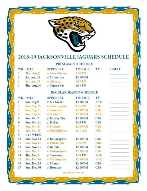 printable jacksonville jaguars schedule