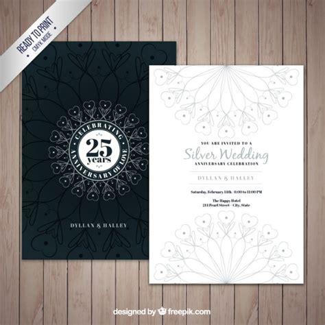 convite bodas de prata decorativa vetores premium