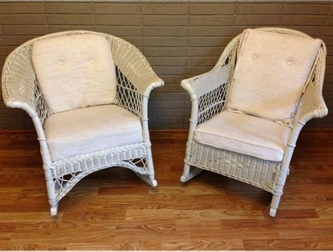 used vintage white wicker rocking chairs a pair