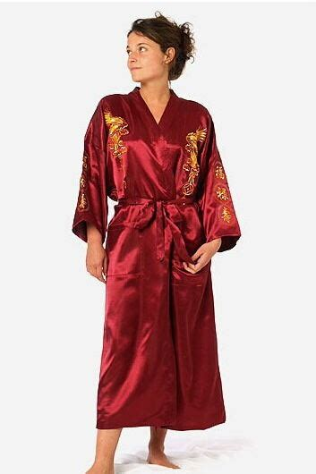 robe de chambre longue femme aliexpress com buy burgundy silk embroidery