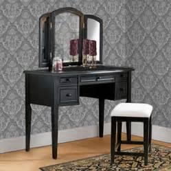 3 piece vanity mirror and bench set antique black