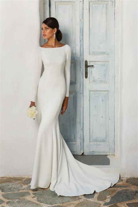 bateau white satin mermaid wedding dress  long sleeves