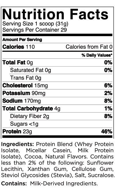 Quest Nutrition Protein Powder - Nutritional Information