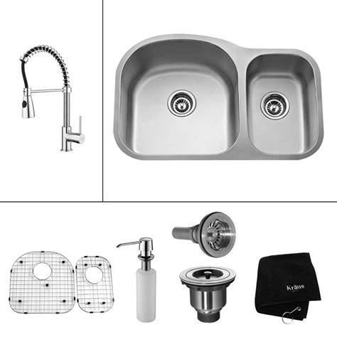 stainless steel undermount kitchen sink double bowl kraus all in one undermount stainless steel 32 in double
