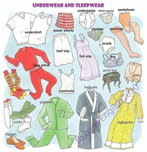 Underwear And Sleepwear  Esl English As A Second Language Inglés Como Segundo Idioma