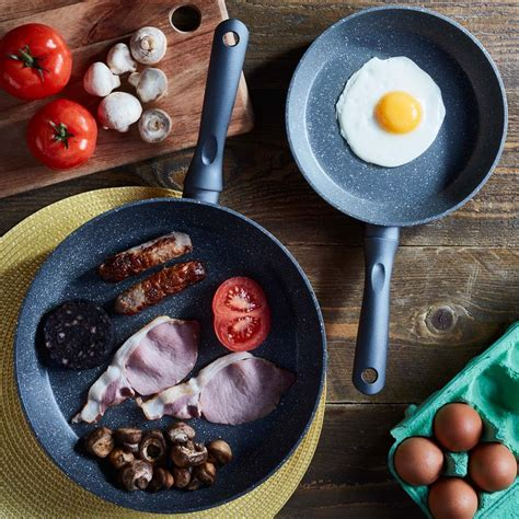 cooks professional  piece copper  granite effect frying pan set clifford james