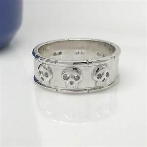 silver skull ring sterling silver hexad skull band With wedding rings with skulls on them