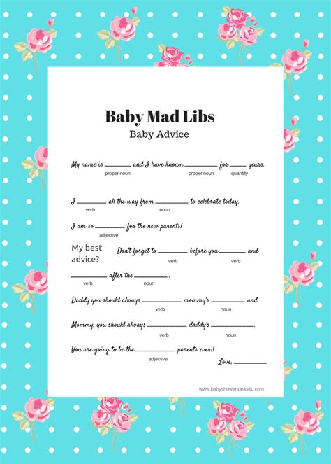 baby mad libs game baby advice baby shower ideas