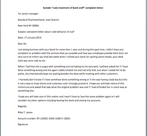 rude treatment  bank staff complaint letter smart