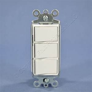 Leviton White Decora Triple Rocker Wall Light Switch