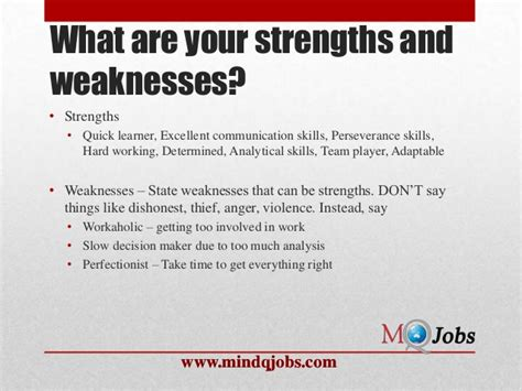 Questions Strengths And Weaknesses Exles by Mindqjobs Fresher Hr Questions