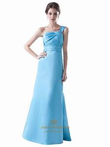 Aqua Blue One Shoulder A-Line Taffeta Bridesmaid Dress ...