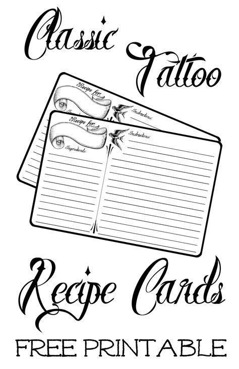 classic tattoo  recipe card  printable  images