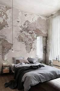 Papier Peint Planisphère : le poster carte du monde g ante vous donne envie voyager ~ Teatrodelosmanantiales.com Idées de Décoration