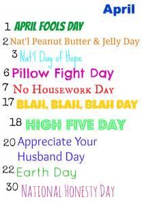 Fun Holidays April