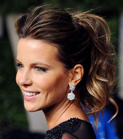 Carpet Ponytail Hairstyles by Kate Beckinsale Trend Carpet Ponytails Us