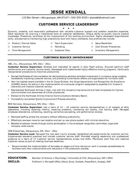 Sle Resumes For Customer Service by Customer Service Skills Resume Http Www