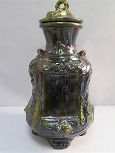 Pot A Couvert : pot couvert en c ramique verniss e d cor de motifs de feui ~ Teatrodelosmanantiales.com Idées de Décoration