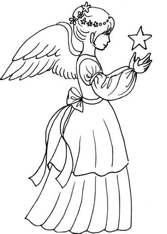 Christmas Angel Girl with Star coloring page | Free