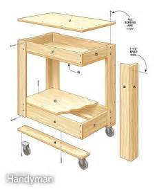 woodworking plans kitchen island rolling tool box cart plans the family handyman