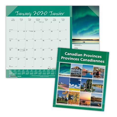 blueline canadian provinces monthly desk pad calendar