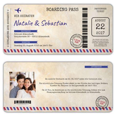 hochzeitseinladung flugticket boarding pass vintage mit foto