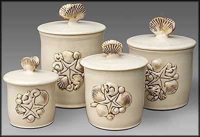 sea shell canisters kitchen canister sets beach