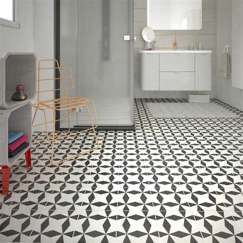 carrelage sol  mur noir blanc effet ciment dement